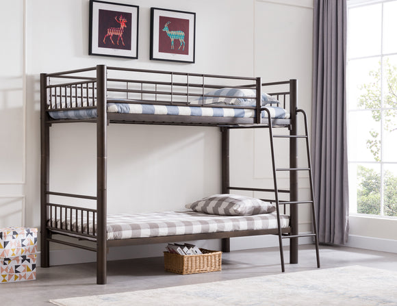 Cindy Pewter Metal Traditional Convertible Slat Bunk Bed With Guard Rails & Step Ladder (Bunkbed) (30