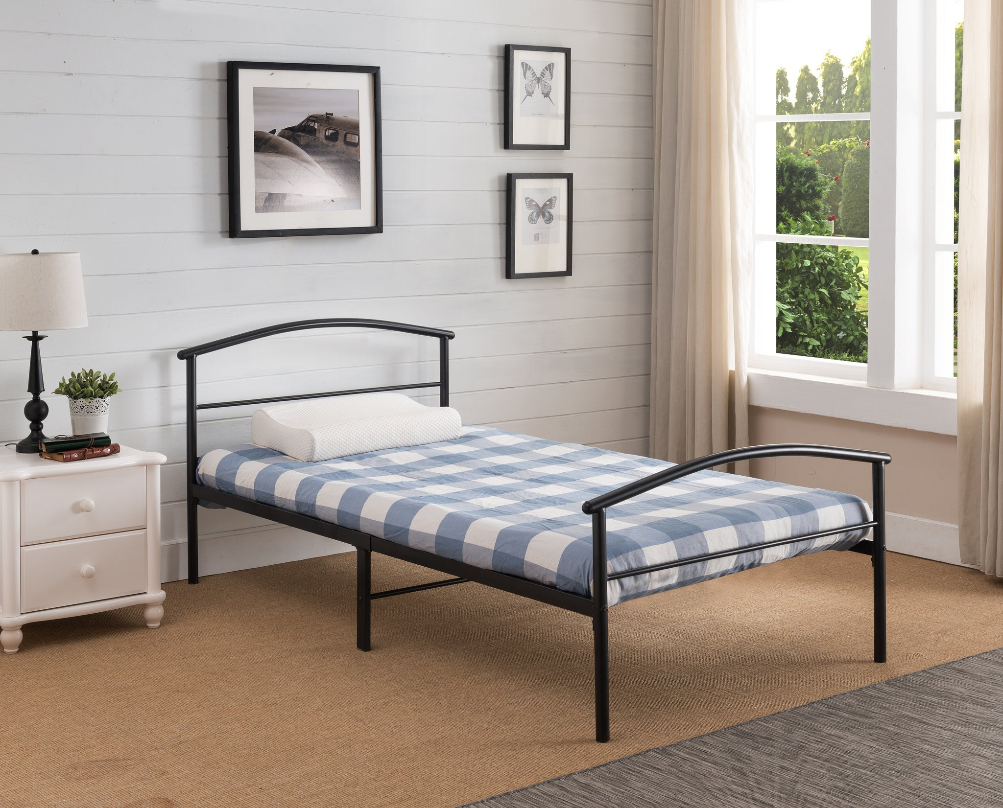 Twin Or Full Size Black Traditional Metal Platform Bed Frame