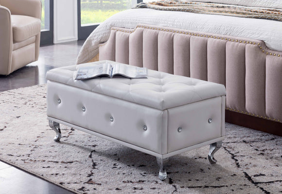 Jane Storage Ottoman Footstool, White Faux Leather
