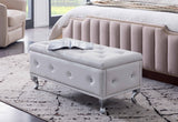 Jane Storage Bench, White Faux Leather