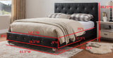 Cora Platform Bed, Black Faux Leather, Full
