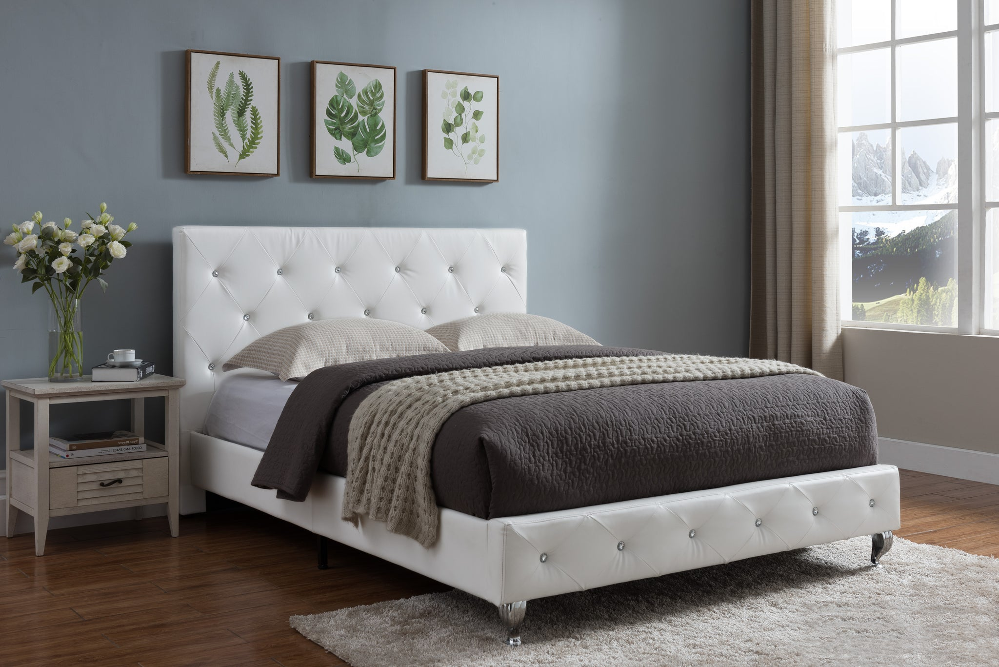 Cora Upholstered Platform Bed White Faux Leather Queen