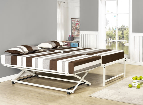Archer Platform Bed Frame & Pop-Up Trundle Set, Cream White Metal, Twin