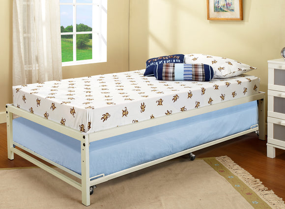 Archer Platform Bed Frame & Roll-Out Trundle Set, Cream White Metal, Twin