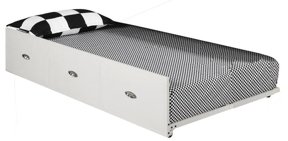 Archer Drawer Roll-Out Trundle Bed, Cream White Metal, Twin