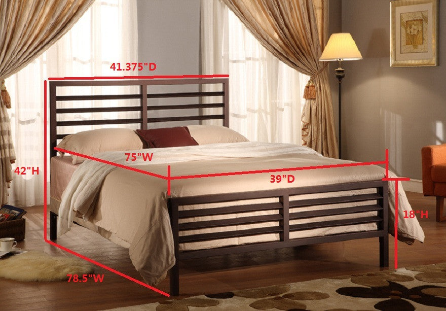 Oakland Bronze Modern Metal Slat Bed Frame Headboard