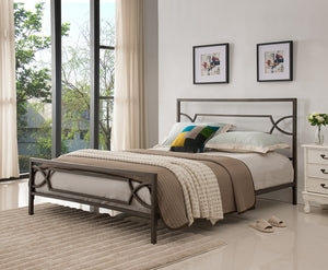 Vegas Pewter Contemporary Metal Slat Bed Frame Headboard Footboard