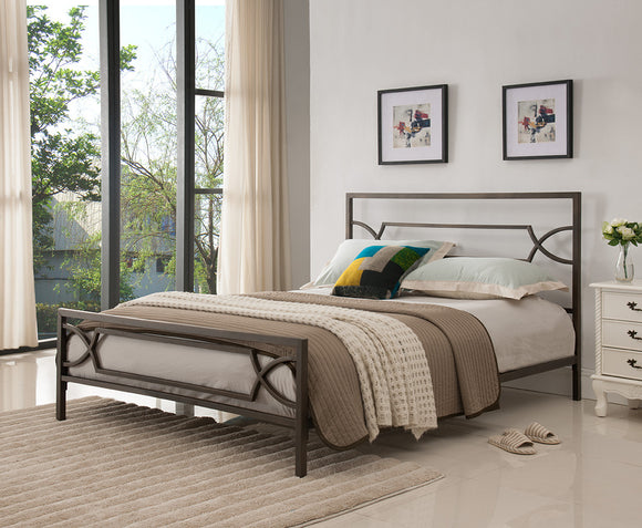 Vegas Pewter Contemporary Metal Slat Bed Frame (Headboard, Footboard, Rails & Slats)