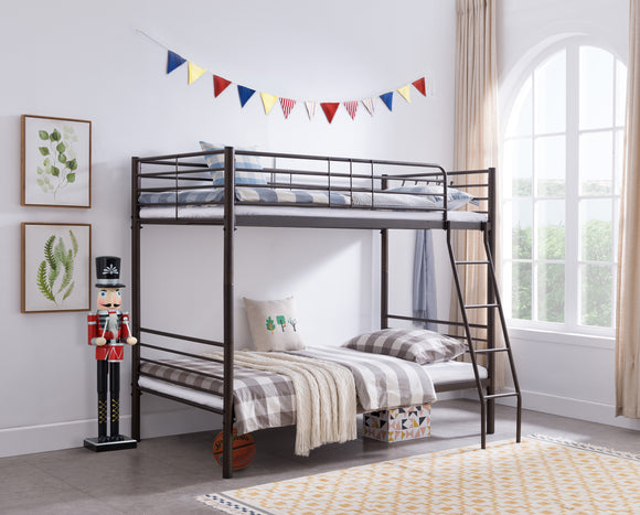 Adele Twin Size Pewter Metal Traditional Convertible Slat Bunk Bed With Guard Rails & Step Ladder (Twin Over Twin Bunkbed)