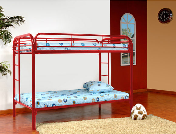 Suburban Bunk Bed, Twin, Red Metal