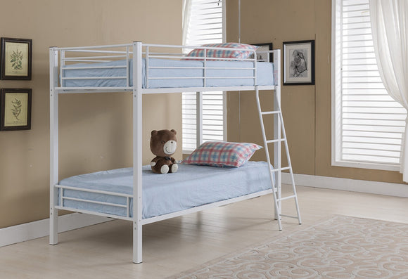 Donna Bunk Bed, Twin, White Metal