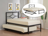 "Archer 39"" Twin Size Black Metal Daybed Frame With Headboard (Optional Trundles & Mattress) - Pilaster Designs"