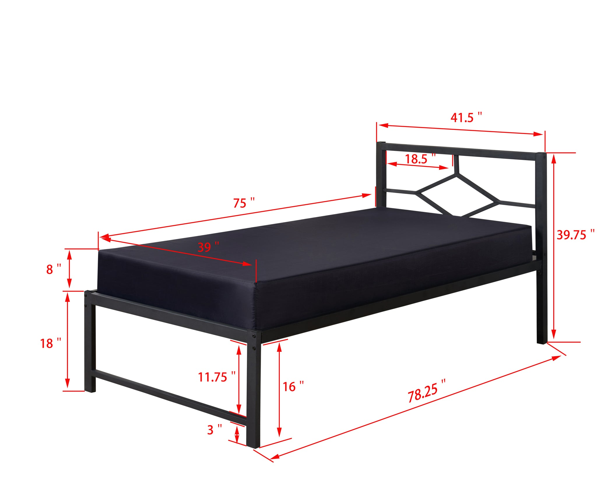 frame pop pilaster twin black products out headboard riser dims frames metal bed roll cheap size high or designed designs daybed slats with day up
