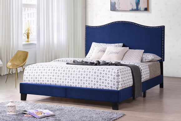Skye Panel Bed, Blue Velvet, King