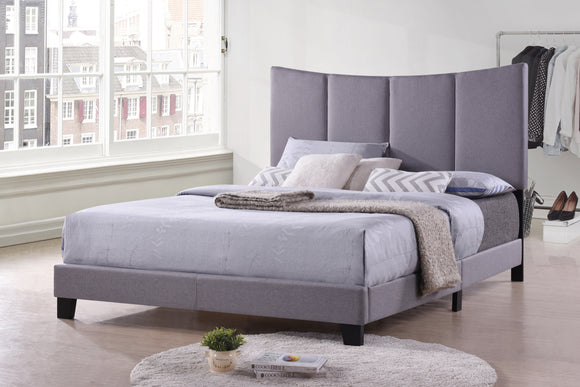 Selah Panel Bed, Gray Polyester, King