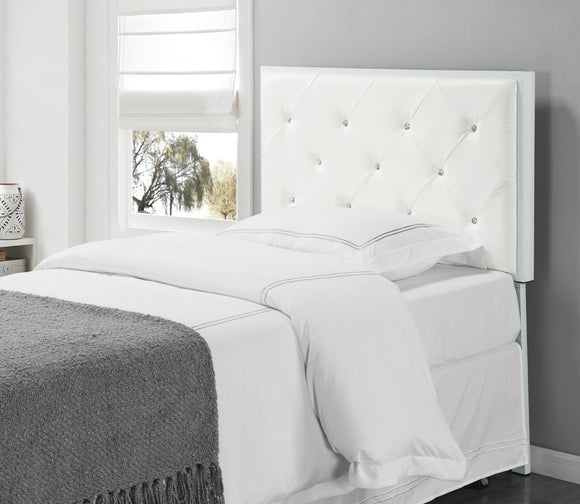 Addisyn Faux Leather Crystal Tufted Upholstered Headboard (Metal Frame) (Twin, Full, Queen) (Black, White) - Pilaster Designs