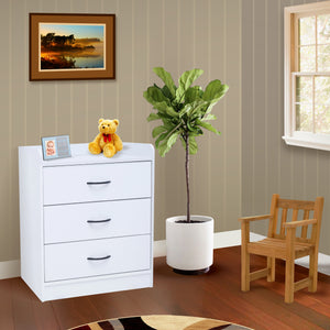 Haifa White Wood Contemporary 3 Drawer Storage Bedroom Chest - Pilaster Designs