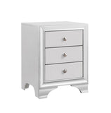 Belle Black or White Wood Transitional 3 Drawer Storage Nightstand Bedside Table With USB Port - Pilaster Designs