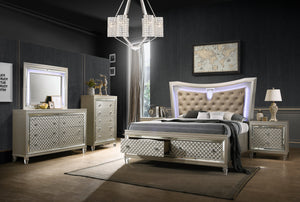 Aviv Configurable Bedroom Set, Champagne Wood With LED Lighting