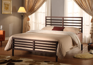 Oakland Bronze Modern Metal Slat Bed Frame Headboard Footboard