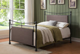 Gemma King Size Platform Bed, Pewter Metal & Brown Fabric