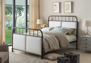 Alpine Pewter Upholstered Faux Leather Transitional Metal Bed (Headboard, Footboard, Rails & Slats) - Pilaster Designs