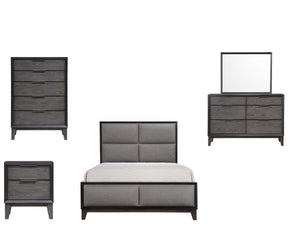 Consuelo 5 Piece Upholstered Bedroom Set, Queen, Gray Wood
