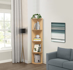 Orion 4 Tier Corner Bookcase, Natural Wood