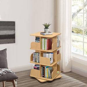 Hartwick 3 Tier Revolving Bookcase, Natural Wood