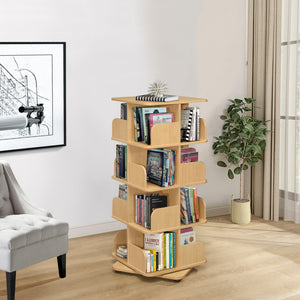 Hartwick 4 Tier Revolving Bookcase, Natural Wood