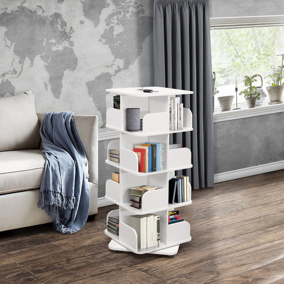 Hartwick 4 Tier Revolving Bookcase, White Wood