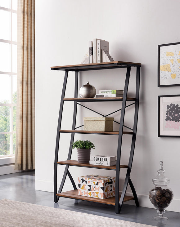 Pilot Etagere Bookcase, Brown Wood & Black Metal