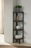 Catalina 4 Tier Bookcase Set, Walnut Wood & Black Metal