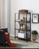 Grey Wood & Black Metal Transitional 3, 4 ,5 Tier Shelf Storage Bookcase Home & Office Organizer Set - Pilaster Designs