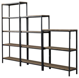 Kinley Bookcase Set, Gray Wood & Black Metal