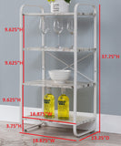 Liese White Metal & Wood Transitional Freestanding 3, 4 or 5 Tier Shelf Kitchen Bakers Rack Storage Organizer Unit - Pilaster Designs