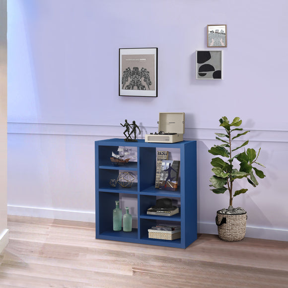 Arlene Cube Bookcase, Blue Wood