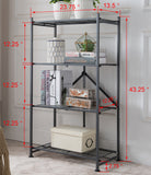 Marsden 4 Tier Folding Bookcase, Gray Metal