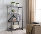 Grey Metal Transitional Folding 3, 4, or 5 Tier Bookcase Storage Display Shelves - Pilaster Designs