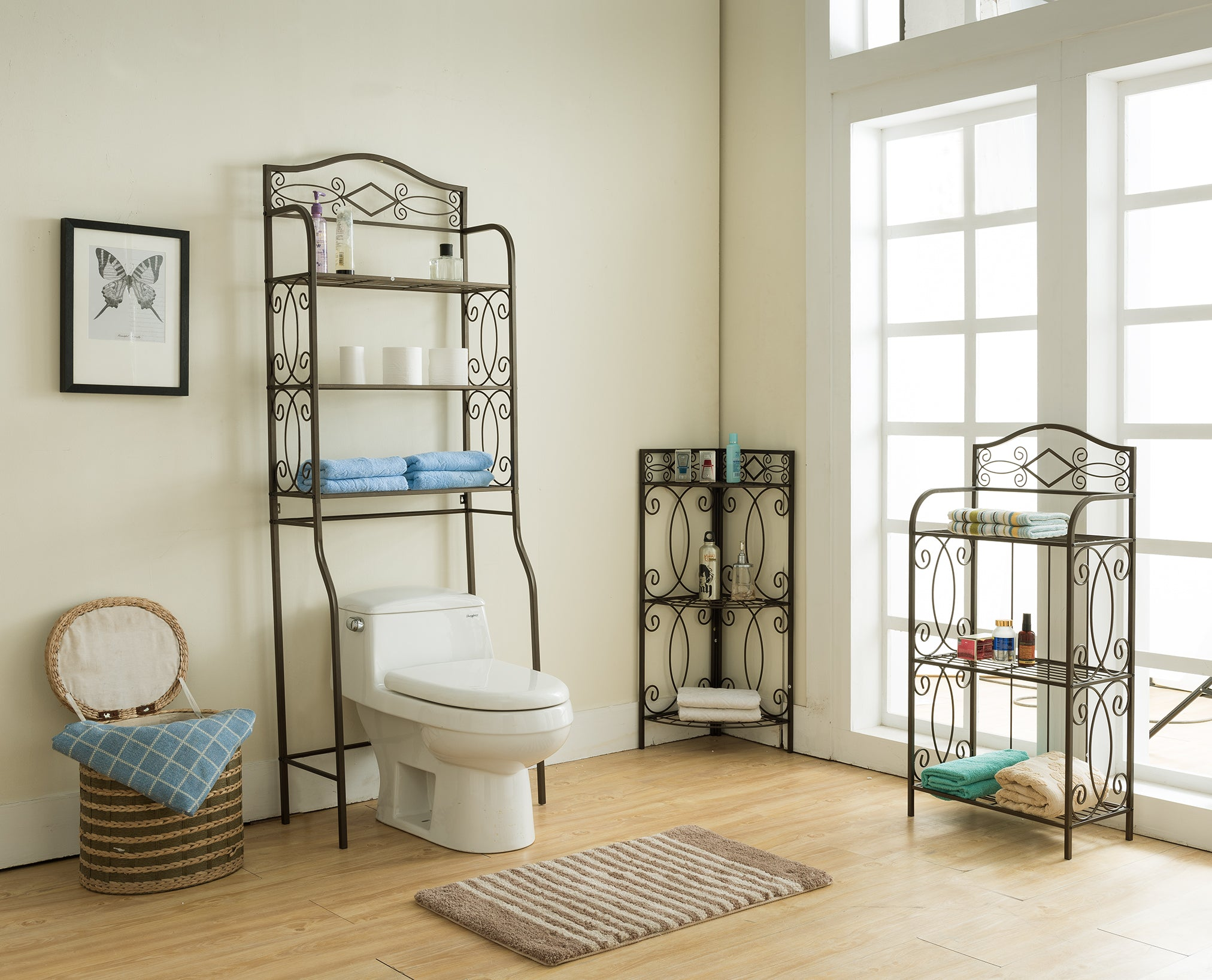3 Piece Pewter Metal Transitional Etagere Over The Toilet Bathroom  # Etagere Design En Metal