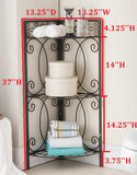 Leeds Corner Towel & Quilt Rack, Pewter Metal