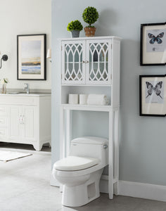 Helsinki Over The Toilet Bathroom Rack, White Wood - Pilaster Designs