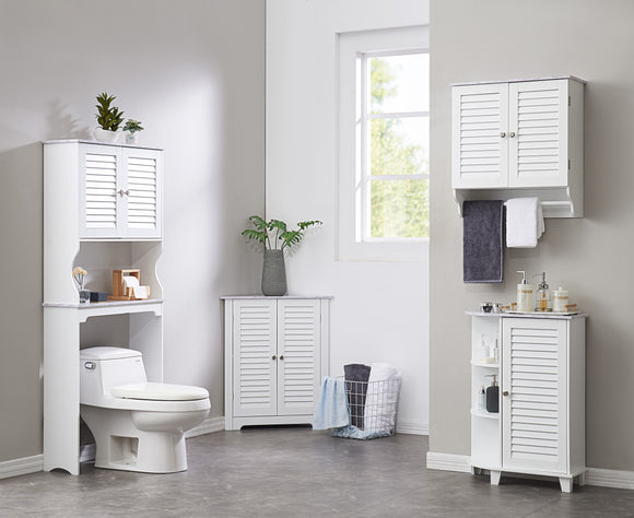 Trevita 4 Piece Bathroom Set, White Wood