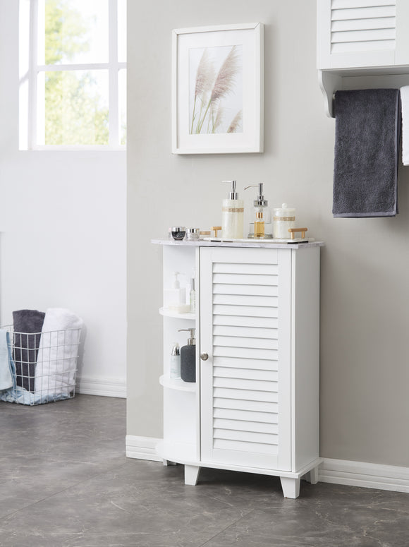 Trevita Bathroom Cabinet, White Wood