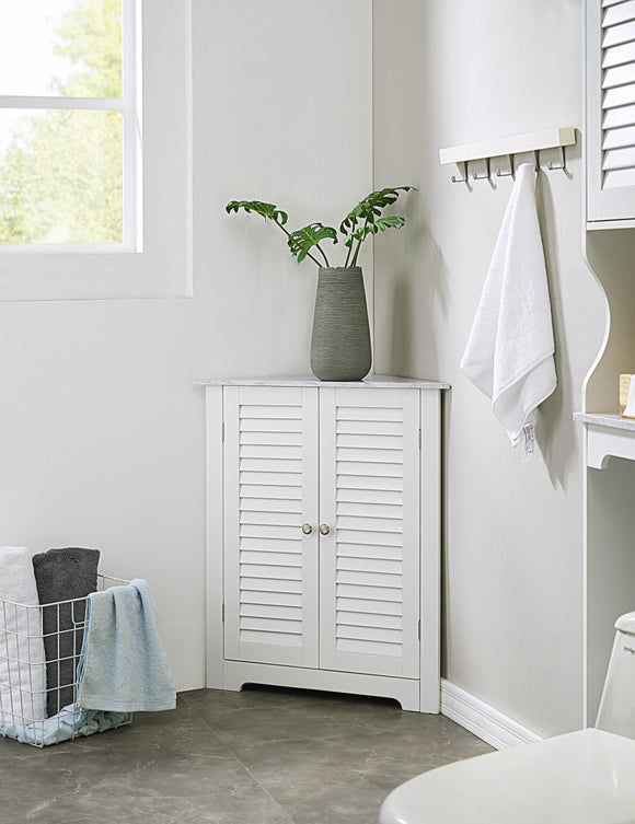 Trevita Corner Bathroom Cabinet, White Wood