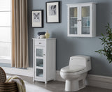 Ard 2 Piece White Wood & Glass Contemporary Bathroom Medicine Chest & Storage Cabinet With Shelves & Drawer - Pilaster Designs