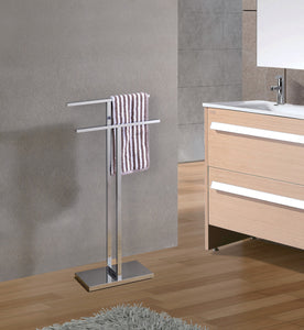 Pelton Freestanding Towel Rack, Stainless Steel