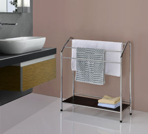 Maadai Freestanding Towel Rack, Chrome Metal & Walnut Wood