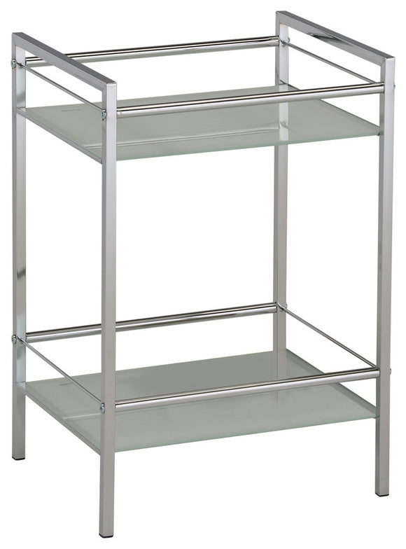 Obelia 2 Tier Shelving Unit, Chrome Metal & White Tempered Glass