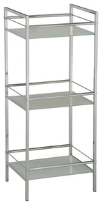 Obelia 3 Tier Shelving Unit, Chrome Metal & White Tempered Glass